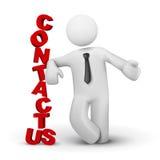 3d bedrijfsmens die concept contact voorstellen ons stock illustratie