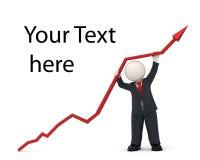 3d bedrijfsmens die een grafiekpijl hoog houden - succes Stock Fotografie