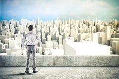 3d bedrijfsmens en stadshorizon Royalty-vrije Stock Afbeelding