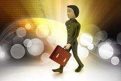 3d bedrijfsmens met aktentas Royalty-vrije Stock Afbeelding