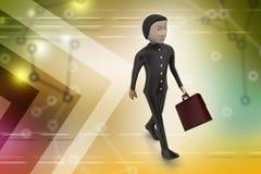 3d bedrijfsmens met aktentas Stock Afbeelding