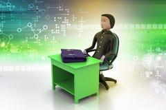 3d bedrijfsmens met aktentas in bureau Royalty-vrije Stock Afbeelding
