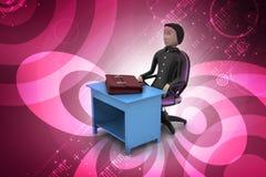 3d bedrijfsmens met aktentas in bureau Stock Afbeelding