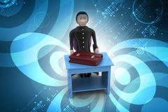 3d bedrijfsmens met aktentas in bureau Stock Afbeeldingen
