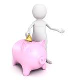 3d bedrijfsmens met spaarvarken en gouden muntstuk Stock Afbeelding