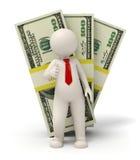 3d bedrijfsmens - pak van geld - duimen omhoog Royalty-vrije Stock Foto's