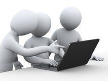 3d bedrijfsmensen die aan laptop werken Stock Foto's