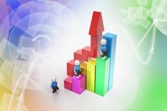 3d bedrijfsmensen die op grafiek beklimmen Royalty-vrije Stock Foto