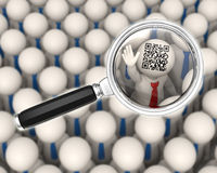 3d bedrijfsmensen - QR-code - meer magnifier nadruk Stock Afbeeldingen