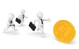 3d bedrijfsmensenlooppas, die een gouden muntstuk achtervolgen stock illustratie