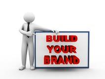 3d bedrijfspersoon bouwt uw merk Royalty-vrije Stock Afbeelding