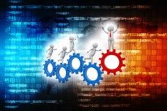 3d bedrijfspersoon die in toestelwielen lopen Zakenman en toestelmechanisme stock illustratie