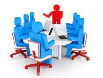 3d bedrijfspersoon in een vergadering met laptop computer Stock Afbeeldingen