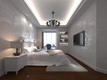 3d bedroom. 3d elegant bedroom design artwork Royalty Free Stock Image
