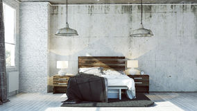3d bedroom in industrial look. With raw concrete walls Stock Photography