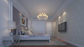3D  bedroom. 3D inetiror design of a luxury bedroom Stock Image