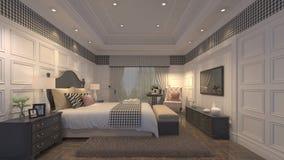 3D  bedroom. 3D inetiror design of a luxury bedroom Royalty Free Stock Image