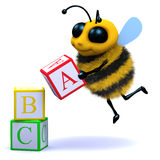 3d Bee alphabet. 3d render of a bee learning to read Stock Photography