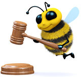 3d Bee auction. 3d render of a bee with an auctioneers gavel Stock Photography