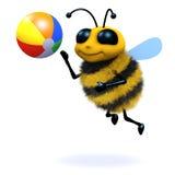 3d Bee beach ball. 3d render of a bee playing beach ball Stock Image