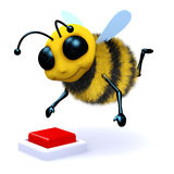 3d Bee button. 3d render of a bee about to push a red button Stock Image