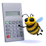 3d Bee calculates. 3d render of a bee with a calculator Stock Images
