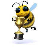 3d Bee champion. 3d render of a bee holding a gold cup Stock Photography