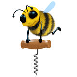 3d Bee with corkscrew. 3d render of a honey bee with a corkscrew Stock Photo
