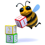 3d Bee counts blocks Stock Photography