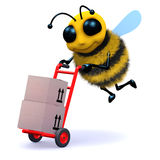 3d Bee delivers. 3d render of a bee with a handcart Stock Photo