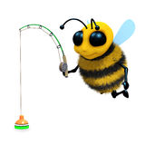 3d Bee fishing Royalty Free Stock Image