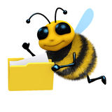 3d Bee with folder of files. 3d render of a honey bee with a folder full of files Royalty Free Stock Photos
