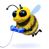 3d Bee gamer. 3d render of a bee playing video games Stock Images