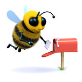 3d Bee gets mail. 3d render of a bee checking a mailbox for messages Stock Image