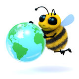 3d Bee globe. 3d render of a bee with a globe of the world Stock Photo