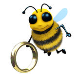 3d Bee with gold ring. 3d render of a honey bee with a gold ring Stock Images