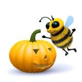 3d Bee halloween pumpkin. 3d render of a honey bee with a halloween pumpkin Stock Image