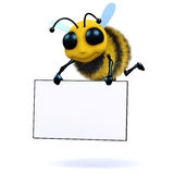 3d Bee holds a banner. 3d render of a bee carrying a banner Stock Image