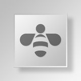 3D bee icon Business Concept. 3D Symbol Gray Square bee icon Business Concept Stock Photos