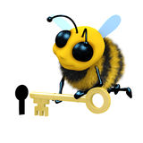 3d Bee keyhole. 3d render of a bee putting a key into a keyhole Royalty Free Stock Photography