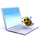 3d Bee on a laptop Royalty Free Stock Photo