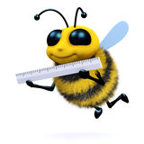 3d Bee measures up. 3d render of a honey bee using a ruler Royalty Free Stock Photos