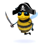 3d Bee pirate. 3d render of a bee dressed as a pirate Royalty Free Stock Photos