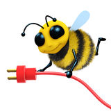 3d Bee plug. 3d render of a bee with a power cord Royalty Free Stock Photography