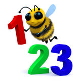 3d 123 Bee. 3d render of a bee and some numbers Stock Photos