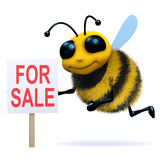 3d Bee for sale. 3d render of a bee with a For Sale sign Stock Image