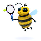 3d Bee serves. 3d render of a bee playing tennis Stock Photography
