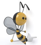 3d bee with a sign. The insect holds a white billboard in hand for advertizing Stock Images