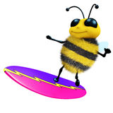 3d Bee surfer. 3d render of a honey bee on a surfboard Stock Photography