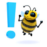 3d Bee is surprised by an exclamation mark Stock Photography
